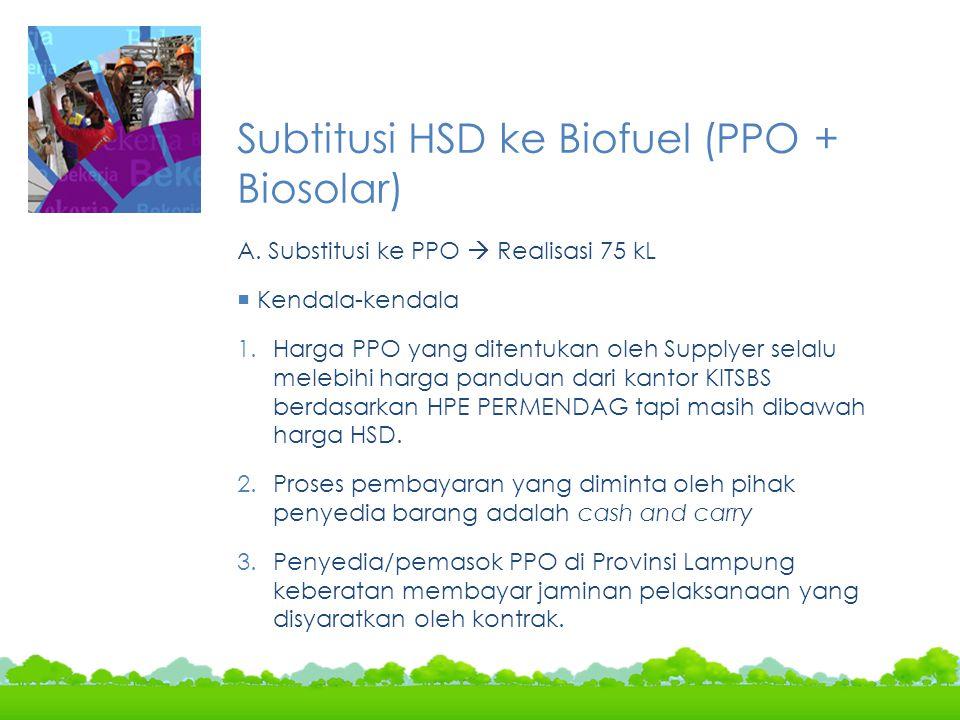 Subtitusi HSD ke Biofuel (PPO + Biosolar)