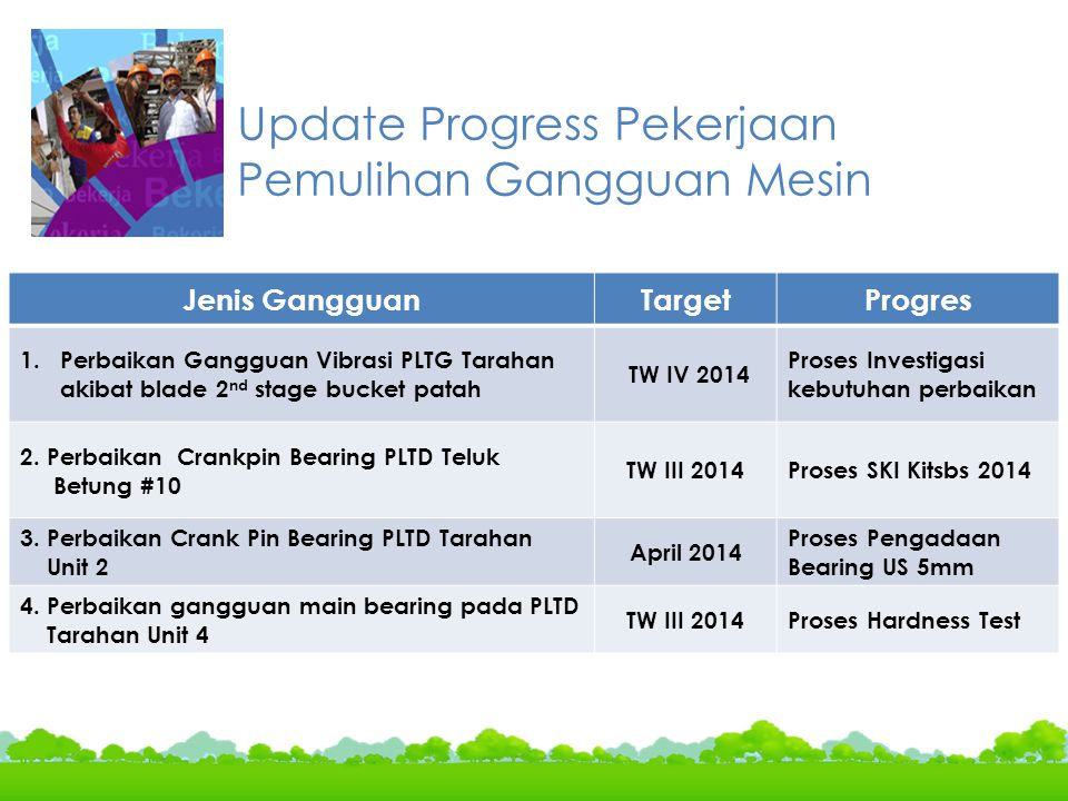 Update Progress Pekerjaan Pemulihan Gangguan Mesin