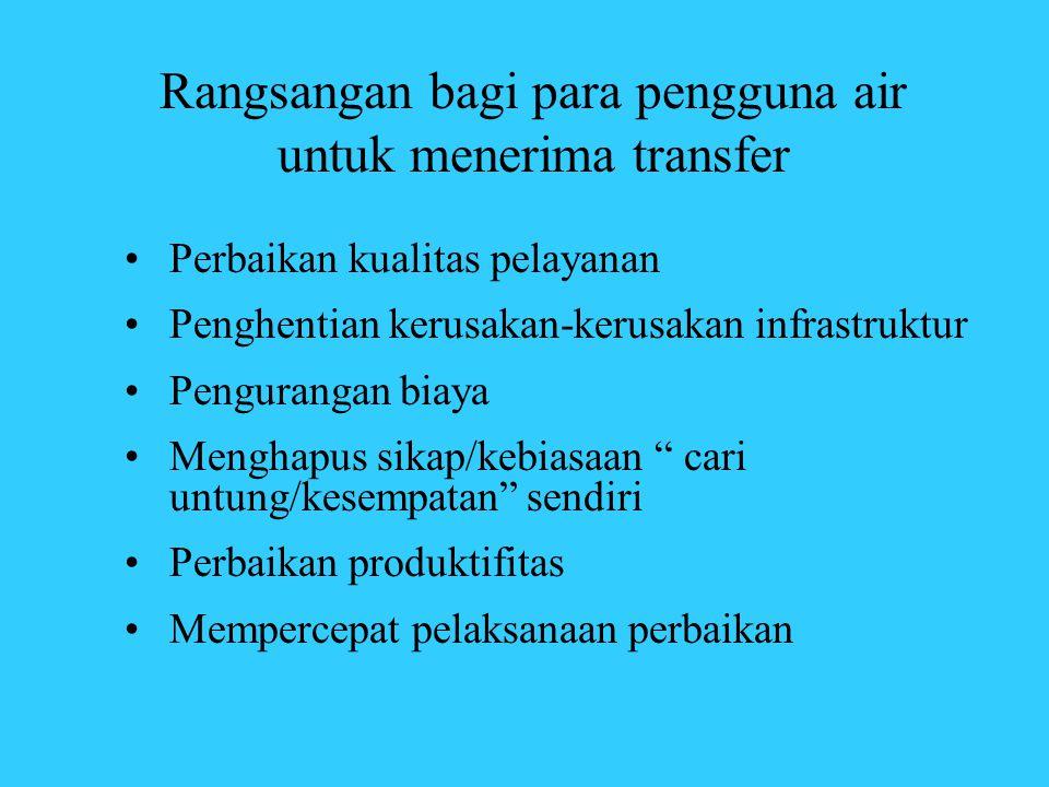 Rangsangan bagi para pengguna air untuk menerima transfer