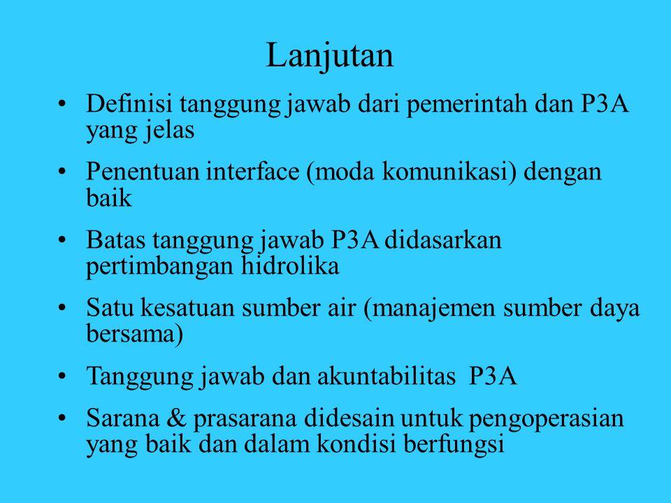 Lanjutan Definisi tanggung jawab dari pemerintah dan P3A yang jelas