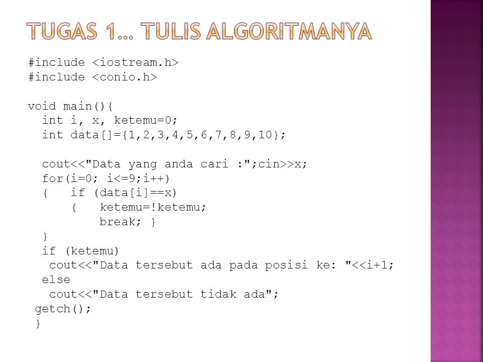 Tugas 1… tulis algoritmanya