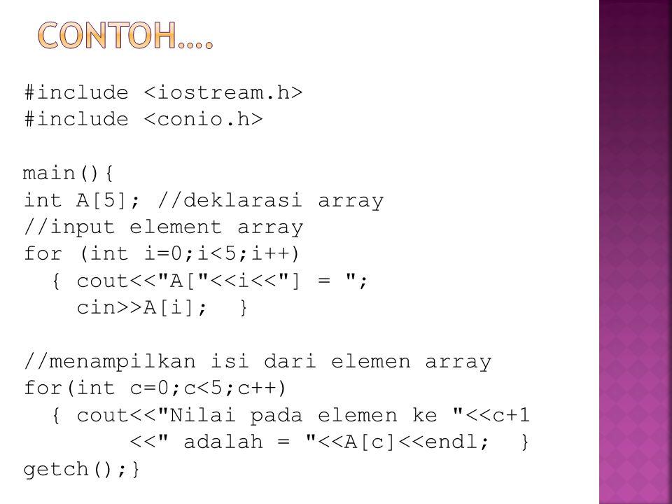 Contoh…. #include <iostream.h> #include <conio.h> main(){