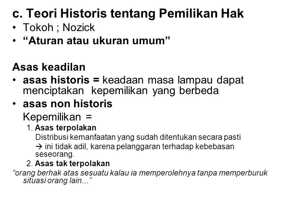 c. Teori Historis tentang Pemilikan Hak