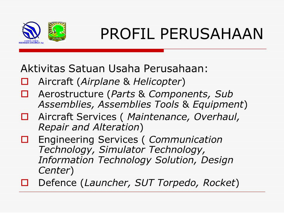 PROFIL PERUSAHAAN Aktivitas Satuan Usaha Perusahaan: