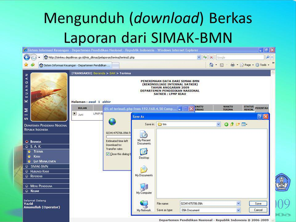 Mengunduh (download) Berkas Laporan dari SIMAK-BMN