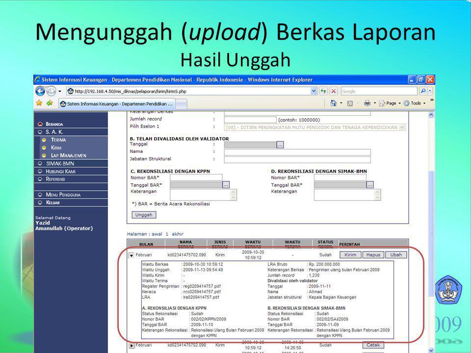 Mengunggah (upload) Berkas Laporan Hasil Unggah