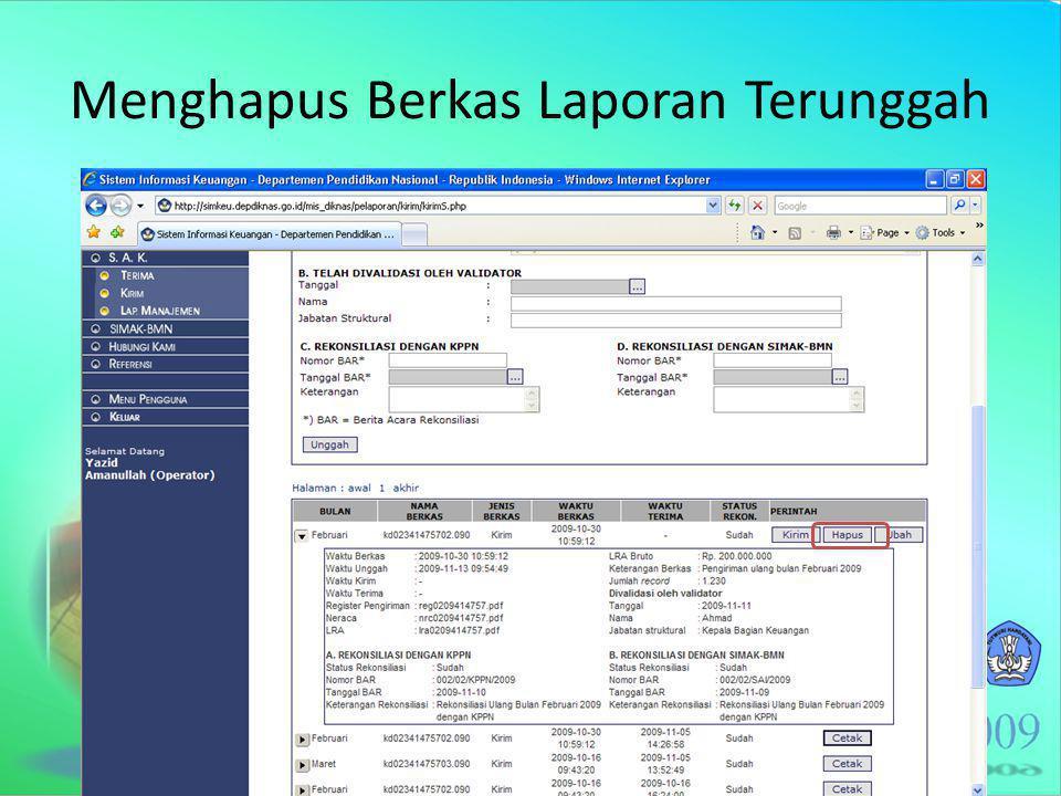 Menghapus Berkas Laporan Terunggah