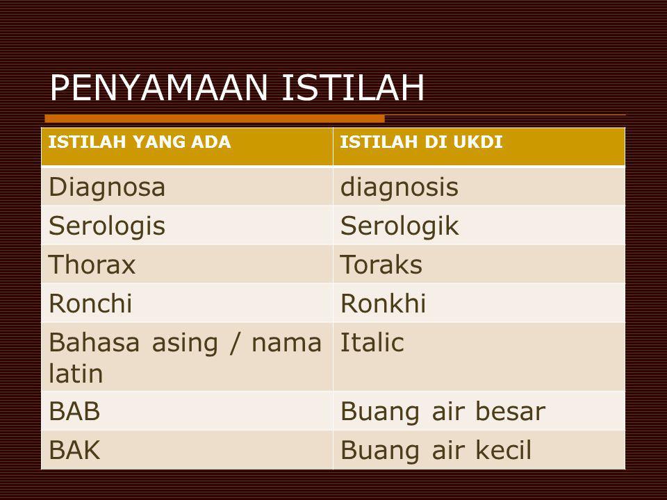 PENYAMAAN ISTILAH Diagnosa diagnosis Serologis Serologik Thorax Toraks