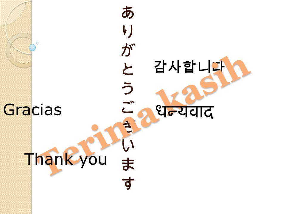 감사합니다 Terima kasih あ り が と う ご ざ い ま す Gracias धन्यवाद Thank you