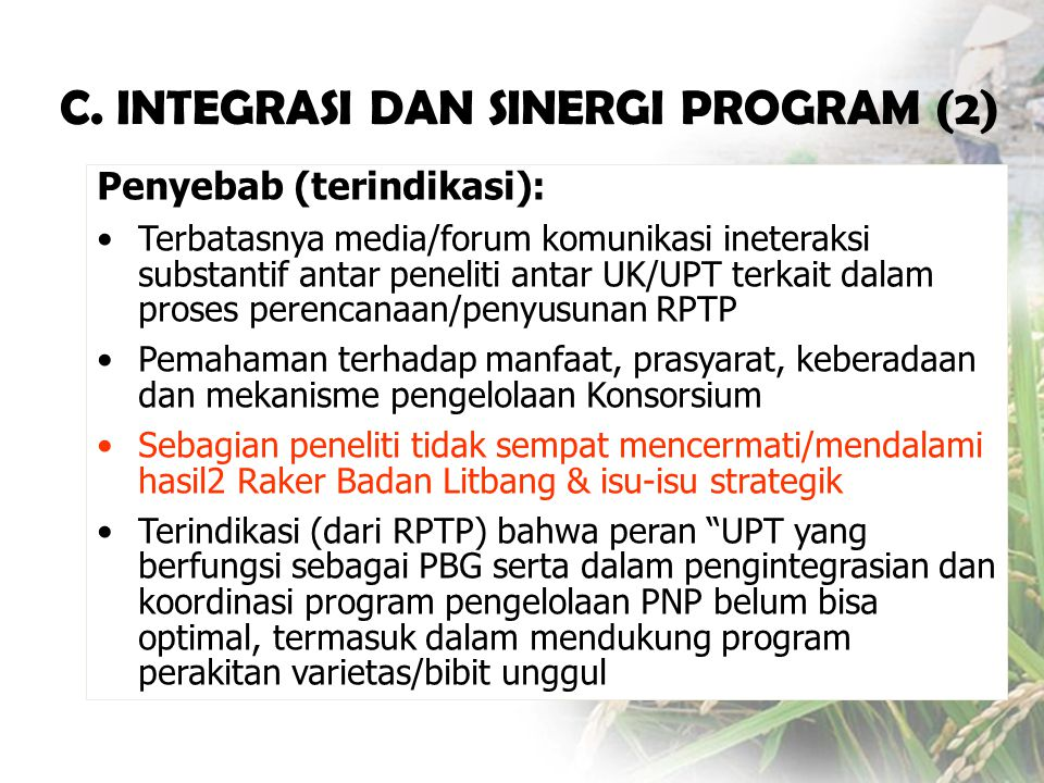C. INTEGRASI DAN SINERGI PROGRAM (2)
