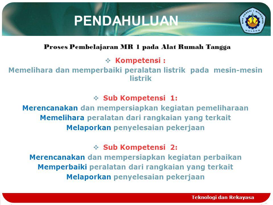 PENDAHULUAN Proses Pembelajaran MR 1 pada Alat Rumah Tangga