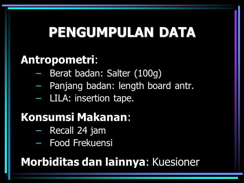 PENGUMPULAN DATA Antropometri: Konsumsi Makanan: