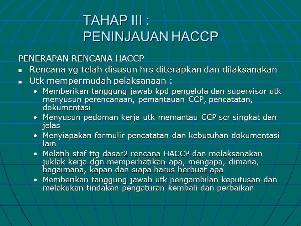 TAHAP III : PENINJAUAN HACCP