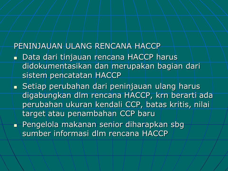 PENINJAUAN ULANG RENCANA HACCP