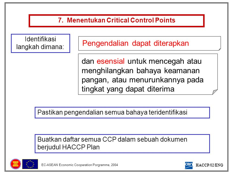 7. Menentukan Critical Control Points