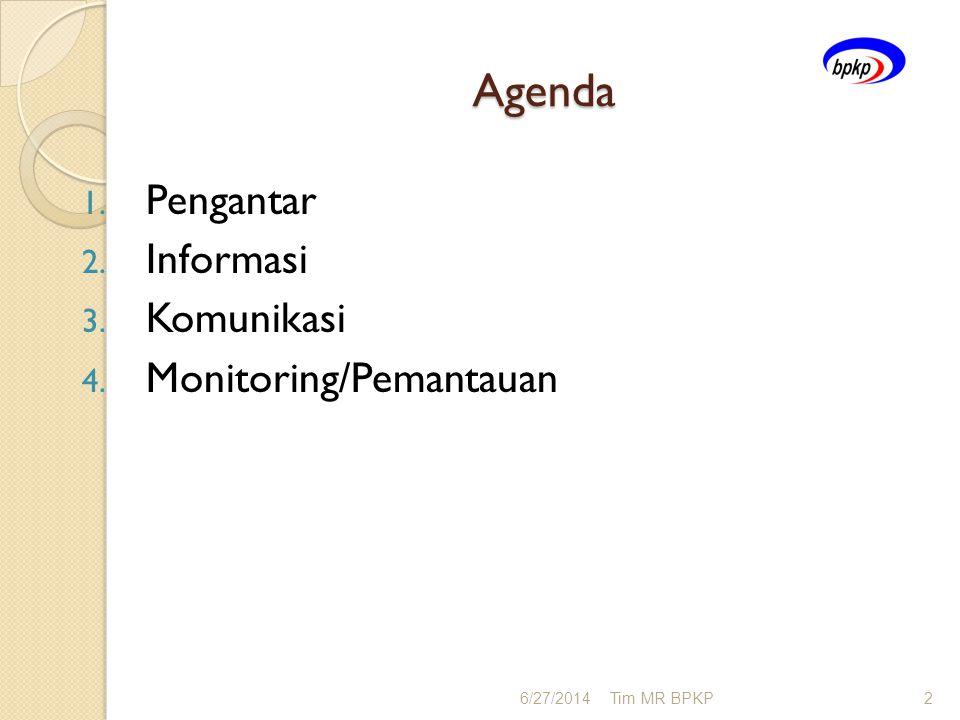 Agenda Pengantar Informasi Komunikasi Monitoring/Pemantauan 4/3/2017