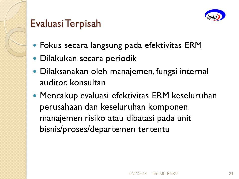 Evaluasi Terpisah Fokus secara langsung pada efektivitas ERM