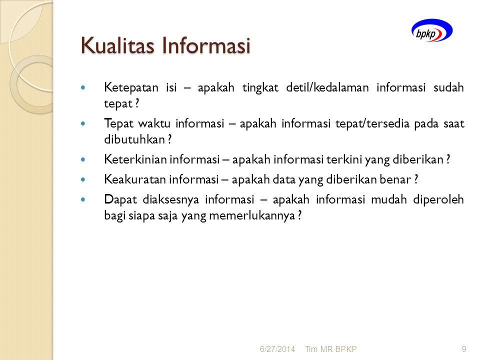 Kualitas Informasi Ketepatan isi – apakah tingkat detil/kedalaman informasi sudah tepat