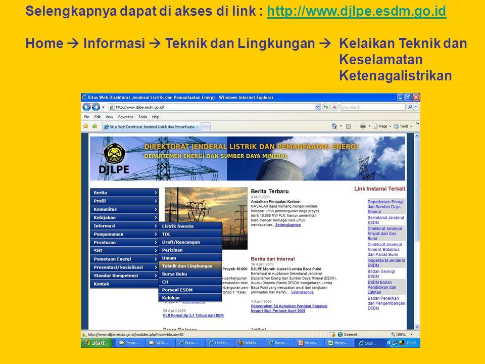 Selengkapnya dapat di akses di link : http://www.djlpe.esdm.go.id