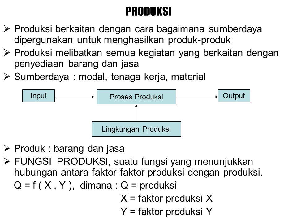 PRODUKSI Produksi berkaitan dengan cara bagaimana sumberdaya dipergunakan untuk menghasilkan produk-produk.