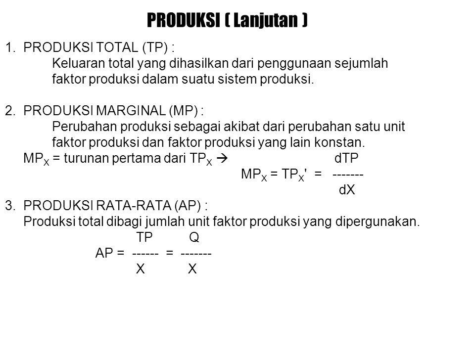 PRODUKSI ( Lanjutan ) 1. PRODUKSI TOTAL (TP) :