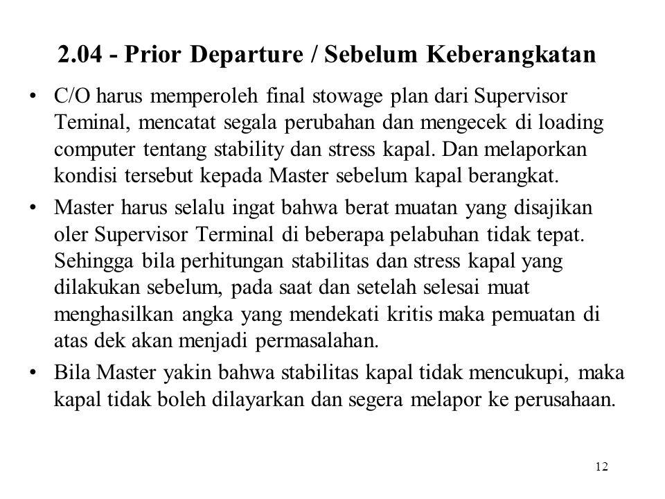 2.04 - Prior Departure / Sebelum Keberangkatan