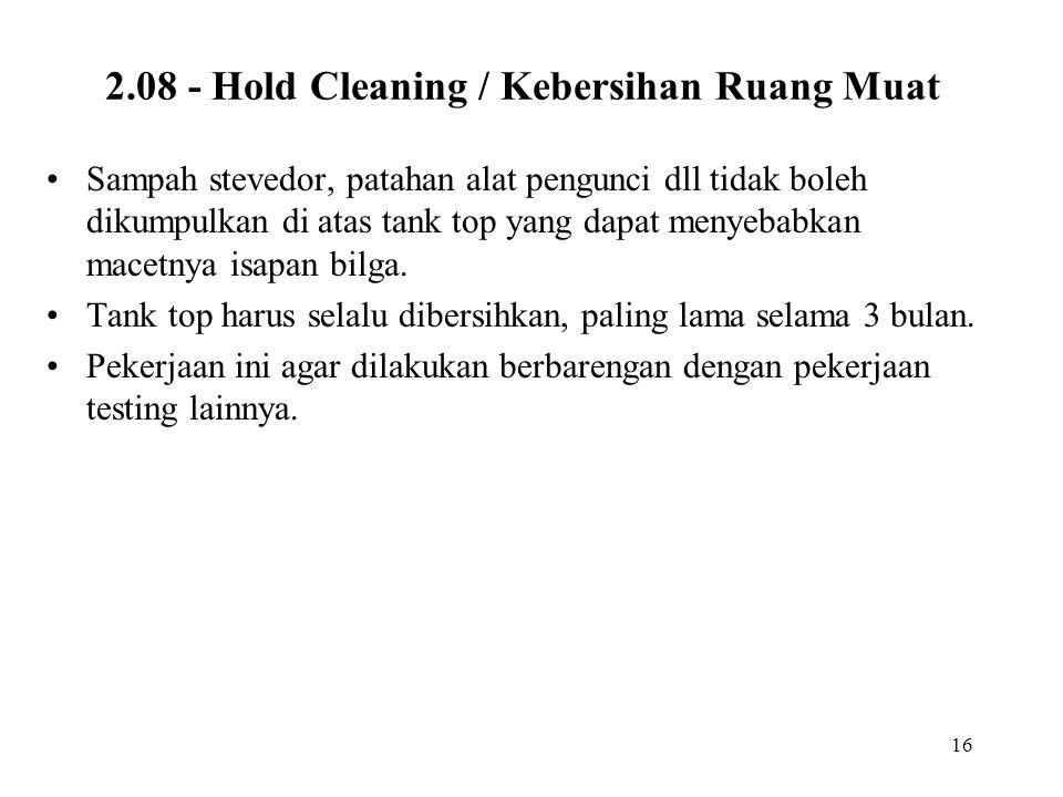 2.08 - Hold Cleaning / Kebersihan Ruang Muat