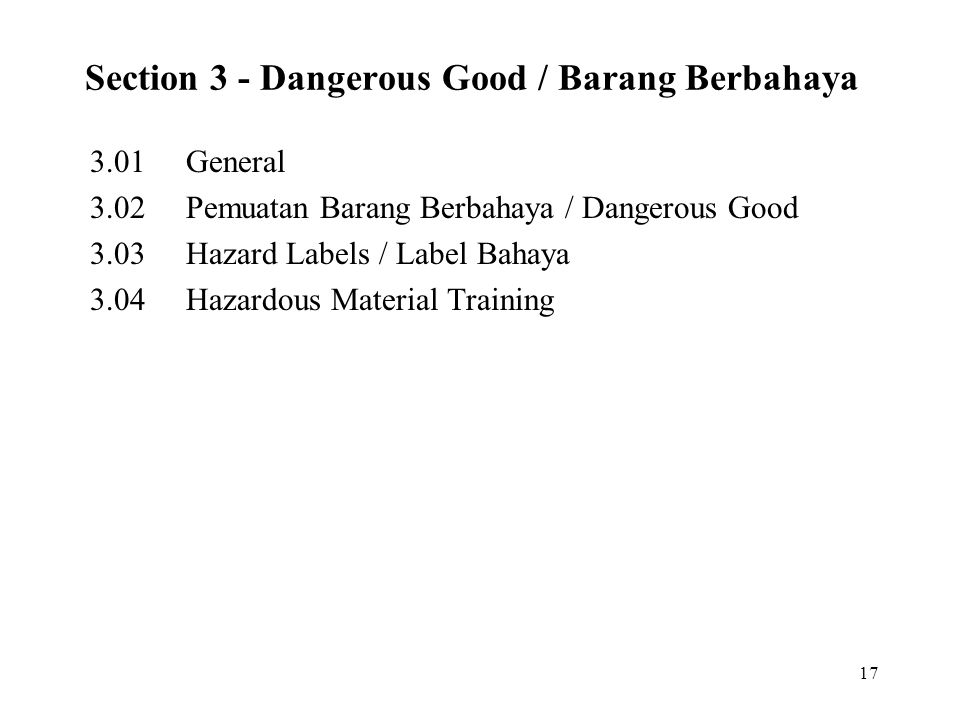 Section 3 - Dangerous Good / Barang Berbahaya