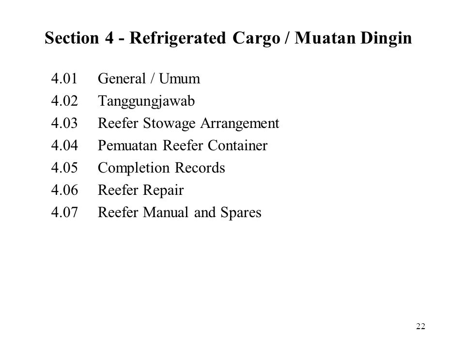 Section 4 - Refrigerated Cargo / Muatan Dingin