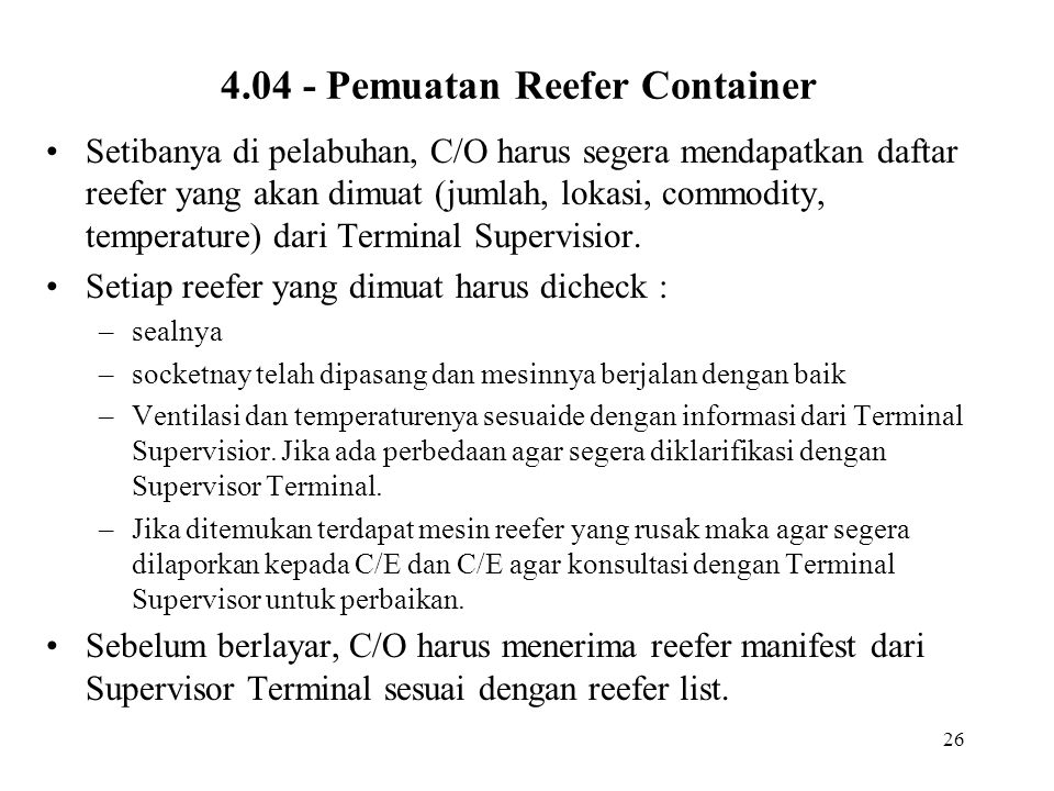 4.04 - Pemuatan Reefer Container