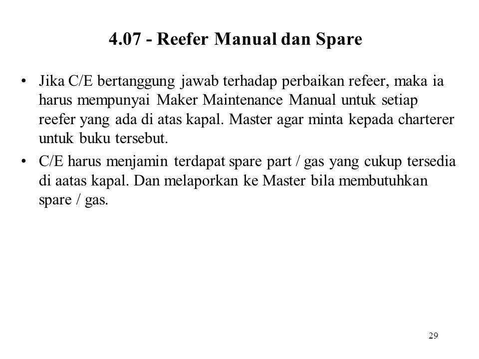 4.07 - Reefer Manual dan Spare
