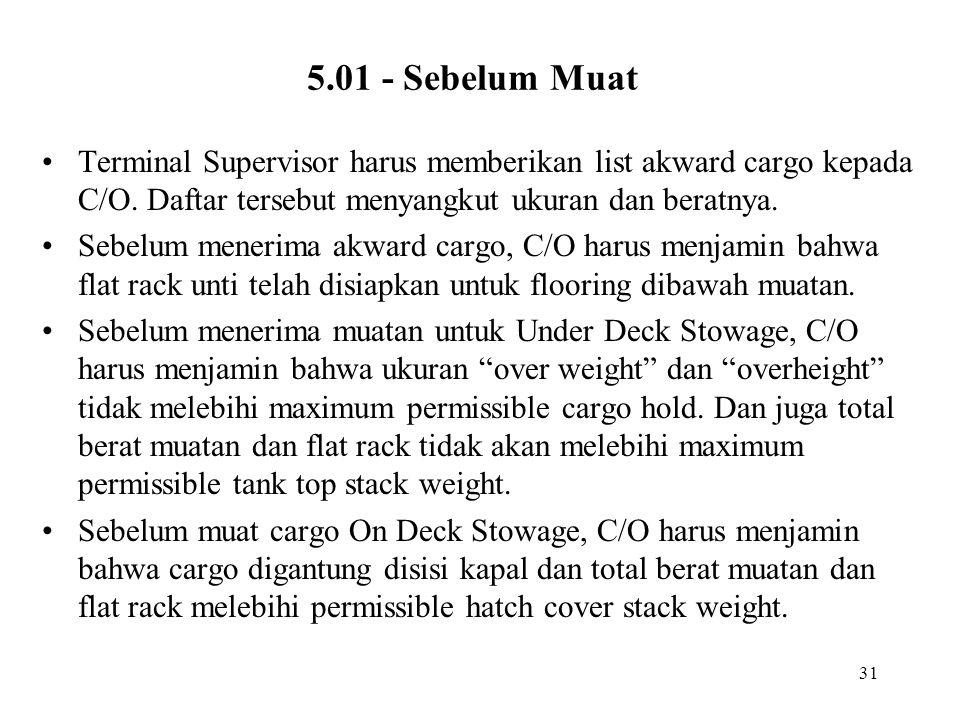 5.01 - Sebelum Muat Terminal Supervisor harus memberikan list akward cargo kepada C/O. Daftar tersebut menyangkut ukuran dan beratnya.