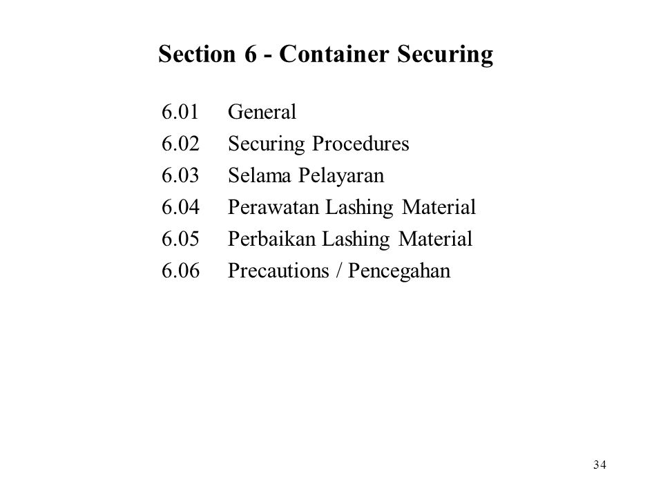 Section 6 - Container Securing