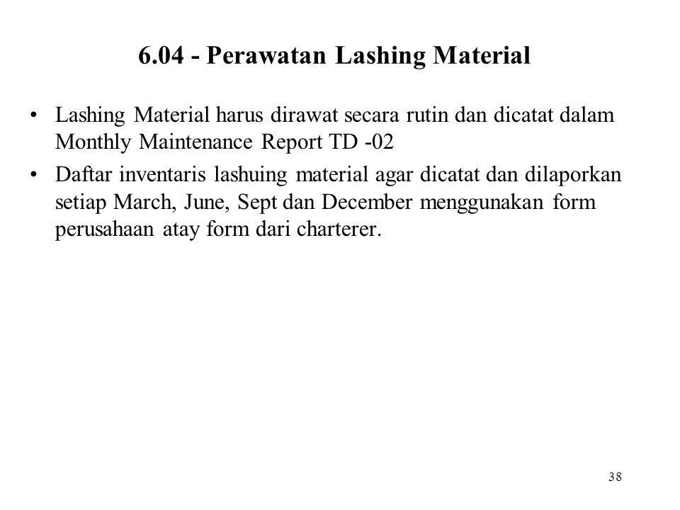 6.04 - Perawatan Lashing Material