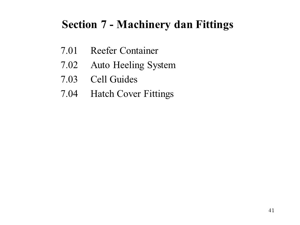 Section 7 - Machinery dan Fittings