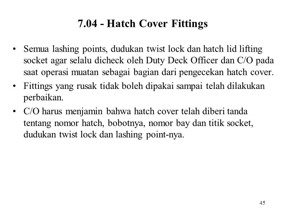 7.04 - Hatch Cover Fittings