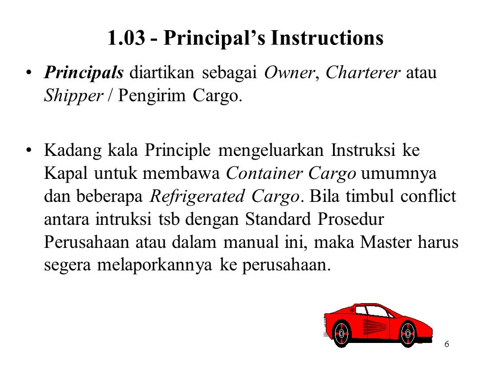 1.03 - Principal's Instructions