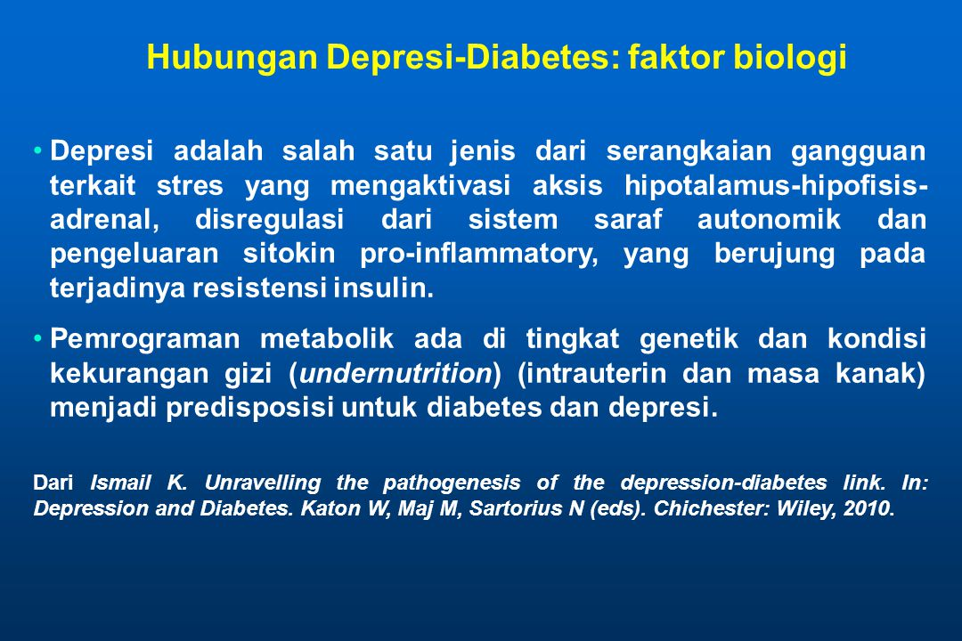 Hubungan Depresi-Diabetes: faktor biologi