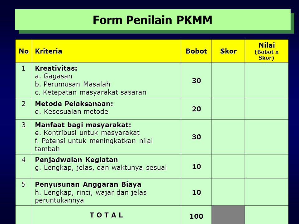 Form Penilain PKMM No Kriteria Bobot Skor Nilai 1 Kreativitas: