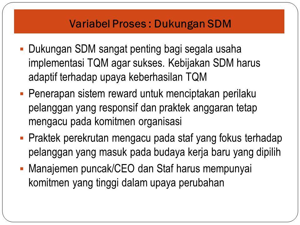 Variabel Proses : Dukungan SDM