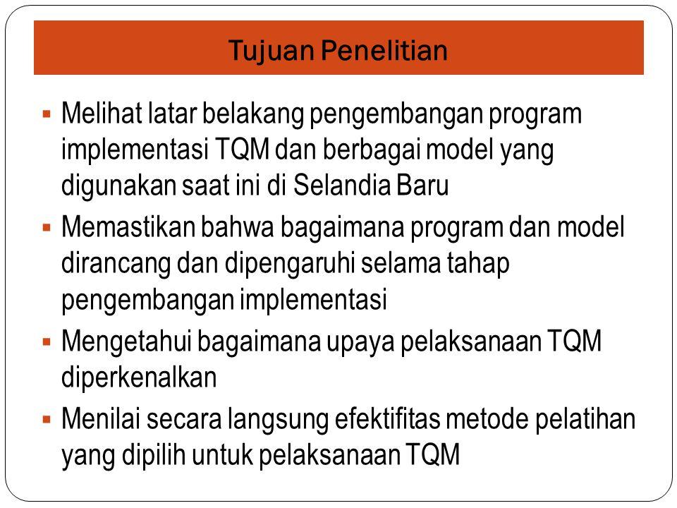 Tujuan Penelitian Melihat latar belakang pengembangan program implementasi TQM dan berbagai model yang digunakan saat ini di Selandia Baru.