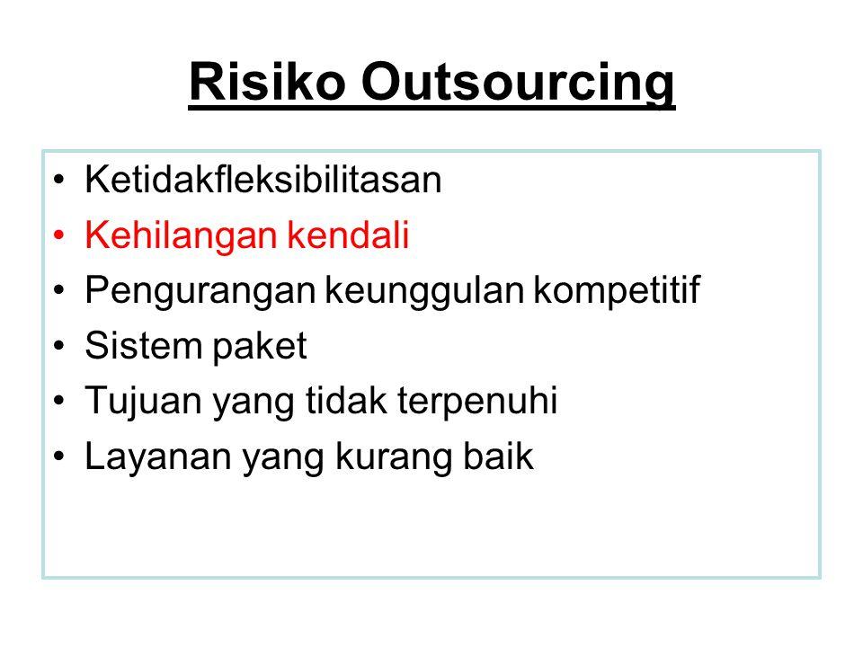 Risiko Outsourcing Ketidakfleksibilitasan Kehilangan kendali