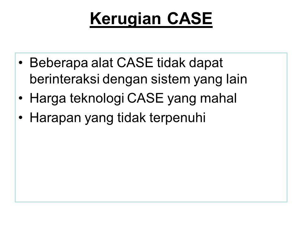 Kerugian CASE Beberapa alat CASE tidak dapat berinteraksi dengan sistem yang lain. Harga teknologi CASE yang mahal.
