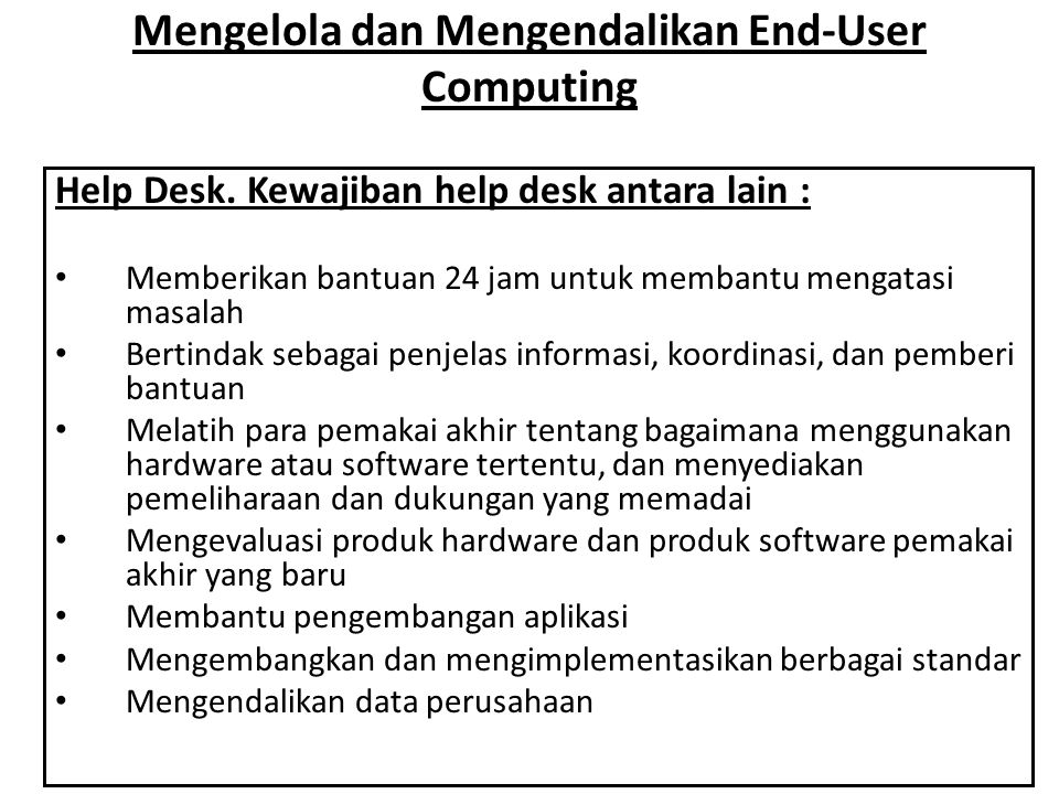 Mengelola dan Mengendalikan End-User Computing