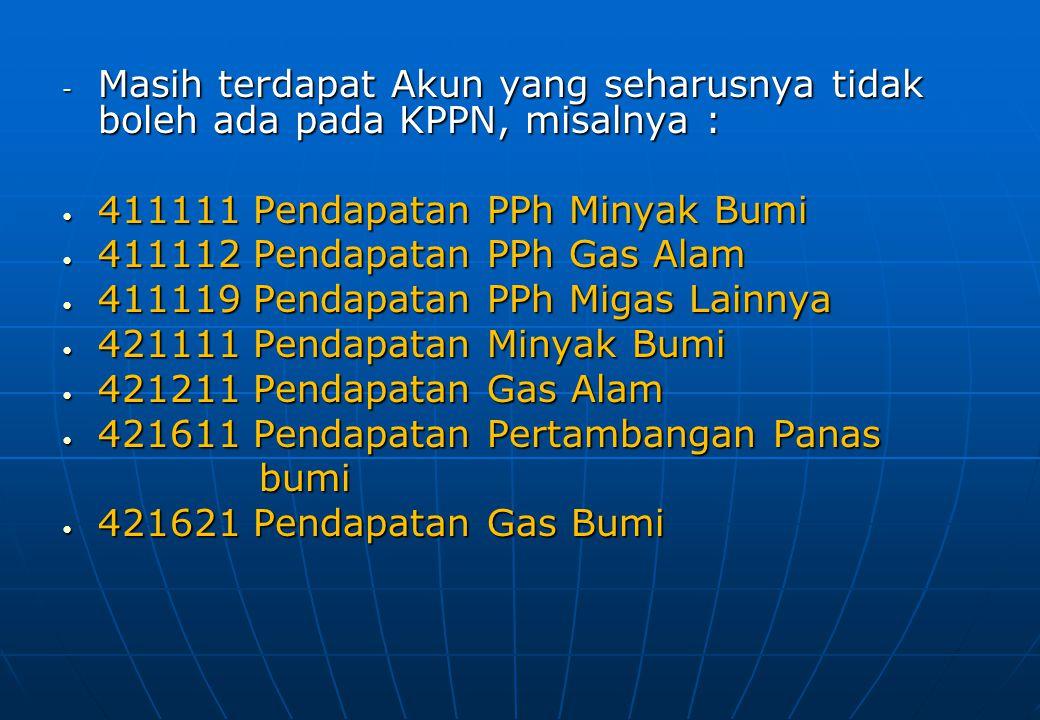Masih terdapat Akun yang seharusnya tidak boleh ada pada KPPN, misalnya :