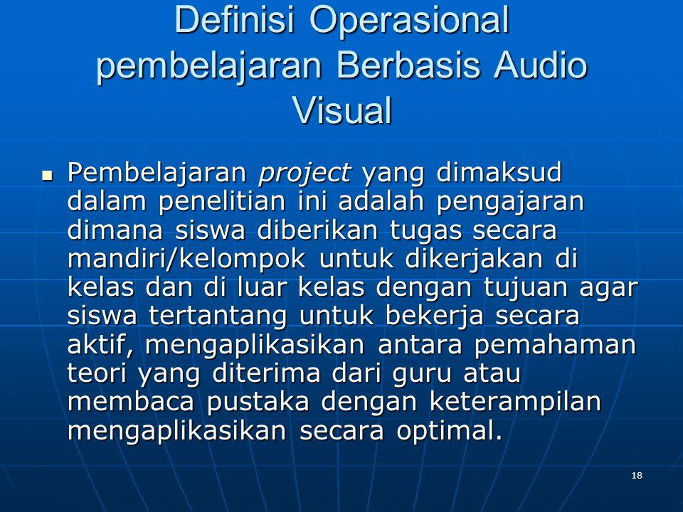 Definisi Operasional pembelajaran Berbasis Audio Visual