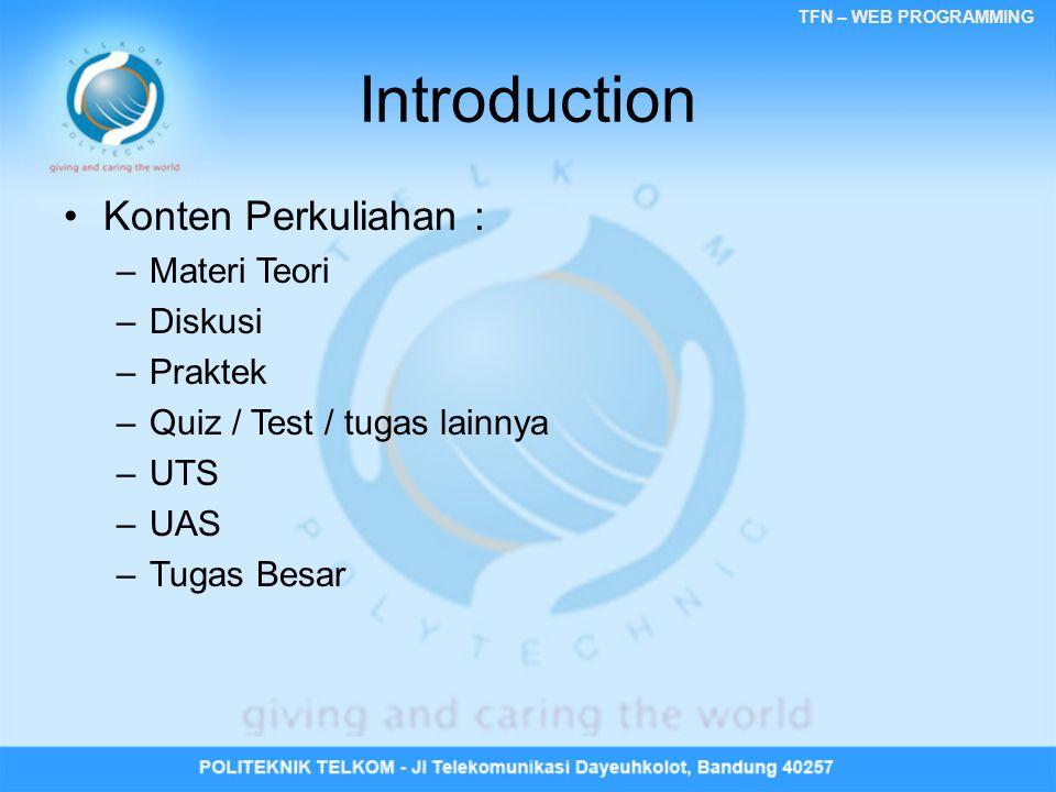 Introduction Konten Perkuliahan : Materi Teori Diskusi Praktek