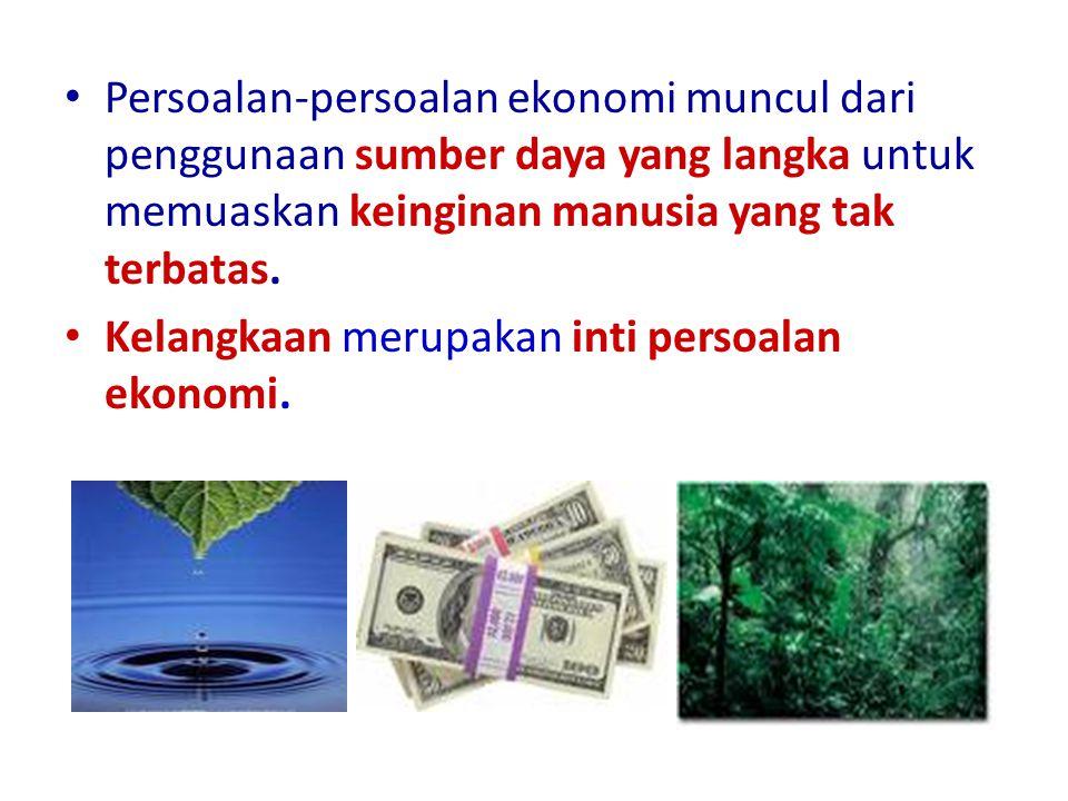 Persoalan-persoalan ekonomi muncul dari penggunaan sumber daya yang langka untuk memuaskan keinginan manusia yang tak terbatas.