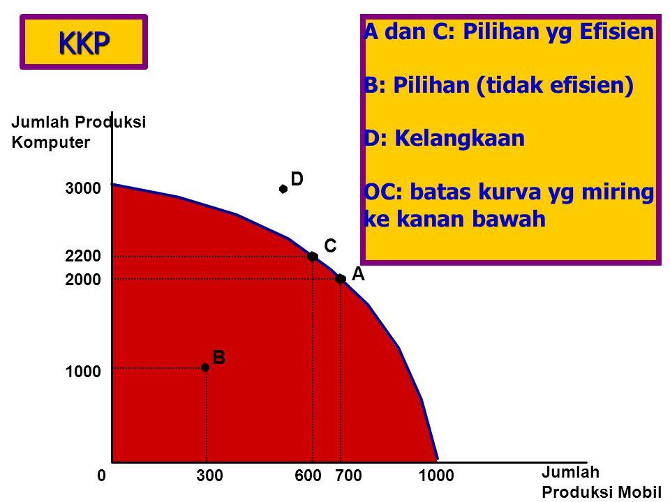 KKP A dan C: Pilihan yg Efisien B: Pilihan (tidak efisien)
