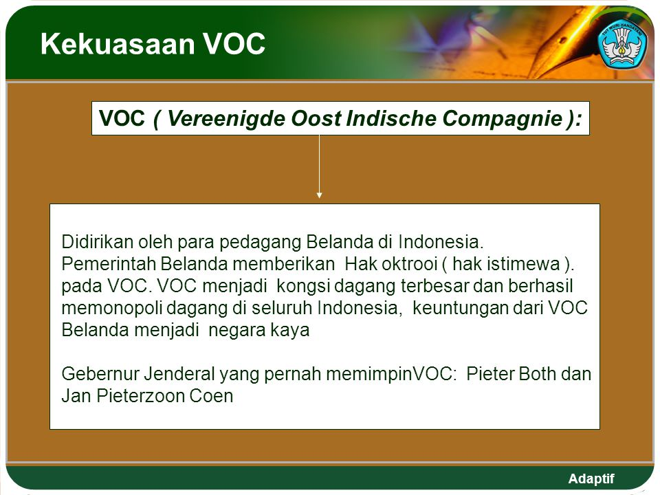 VOC ( Vereenigde Oost Indische Compagnie ):